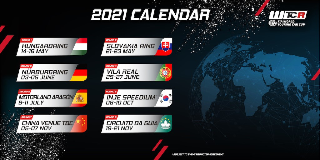 Return to asia part of planned  2021 WTCR calendar
